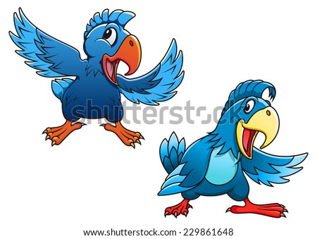 Cute blue cartoon parrot birds characters with curved beaks and different wing positions, vector illustration on white - stock vector