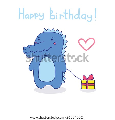 cute blue crocodile wishes a happy birthday. vector illustration. - stock vector