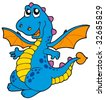 Cute blue dragon - vector illustration. - stock vector