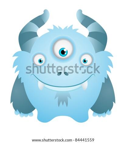 Cute Blue Monster - stock vector