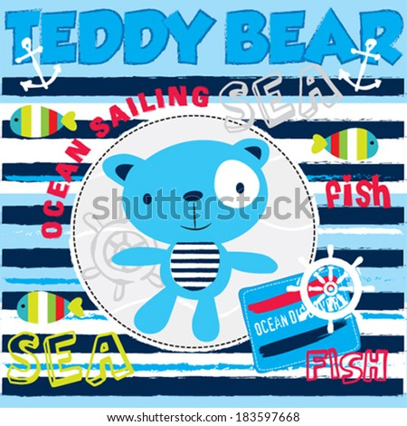 cute blue sailor teddy bear with striped fish background vector illustration - stock vector