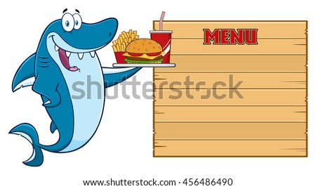 Cute Blue Shark Cartoon Mascot Character Holding A Platter With Burger, French Fries And A Soda To Wooden Blank Board With Text Menu. Vector Illustration Isolated On White Background - stock vector