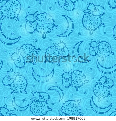 Cute Blue Sheep and Moon Silhouette on Light Cyan Background. Seamless Vector Pattern - stock vector