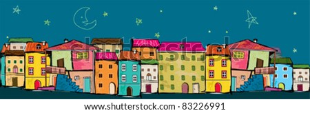cute border with city at night - stock vector