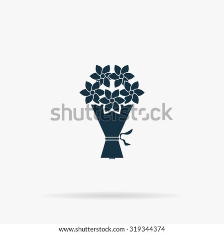 Cute bouquet of flowers. Flat vector web icon or sign on grey background with shadow. Collection modern trend concept design style illustration symbol - stock vector
