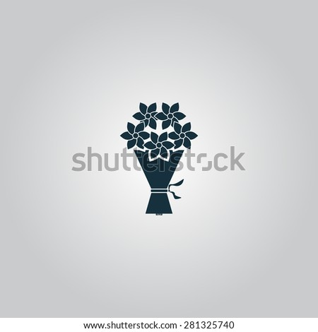 Cute bouquet of flowers. Flat web icon or sign isolated on gray background. Collection modern trend concept design style vector illustration symbol - stock vector