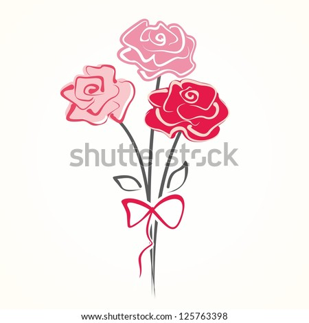 Cute bouquet of flowers. Vector illustration with roses. - stock vector