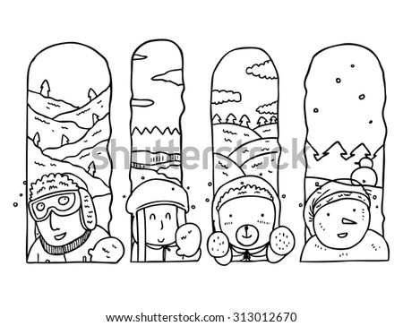 cute boy and girl in winter season  - stock vector