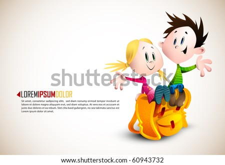 Cute Boy and Girl sitting on School Backpack | Happy Children | Detailed vector illustration with space for text | All layers named accordingly - stock vector