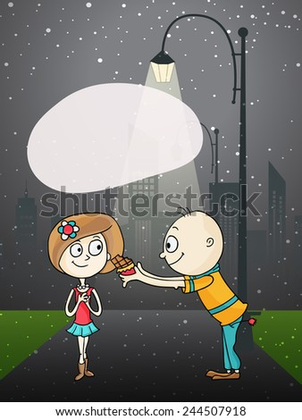 Cute boy cartoon offering chocolate to his beloved on night background on occasion of Happy Valentines Day. - stock vector