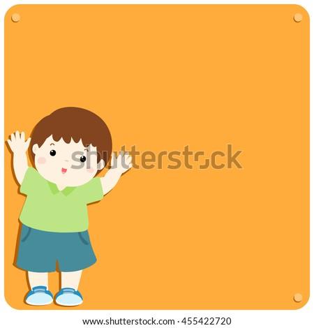 Cute boy explains at the blank board vector illustration - stock vector