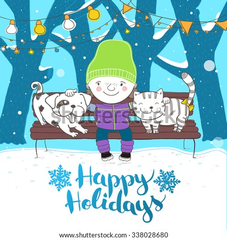 Cute boy hugs his lovely friends dog and cat. Sitting on a bench. Holidays illustration. Vector. - stock vector