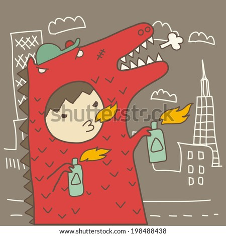cute boy in red fire Godzilla suit