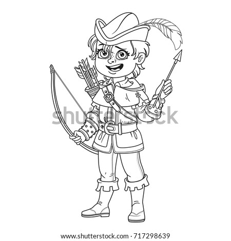 Cute Boy In Robin Hood Costume Outlined For Coloring Page
