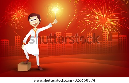 Cute boy in traditional dress, playing with firecracker on stylish red urban city background for Indian Festival of Lights, Happy Diwali celebration. - stock vector