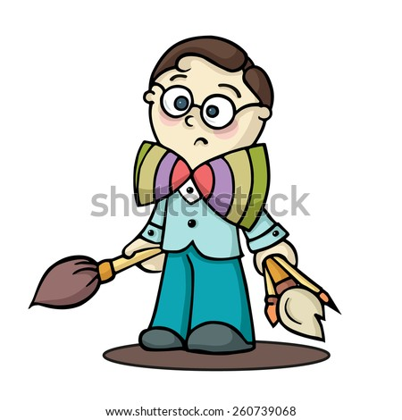 Cute boy painter with brushes.  Hand-drawn vector illustration isolated on white.  - stock vector