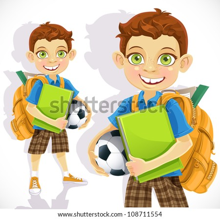 Cute boy student with a backpack and a textbook - stock vector