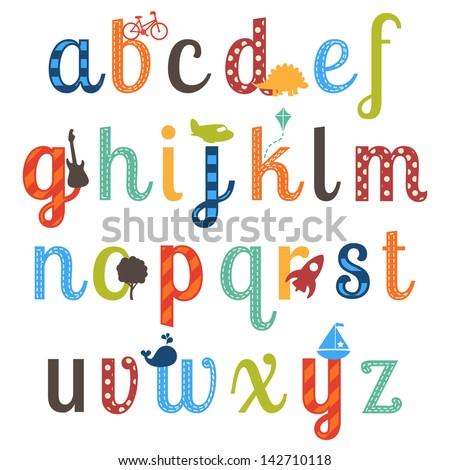 Cute Boy Themed Alphabet Vector Set - stock vector