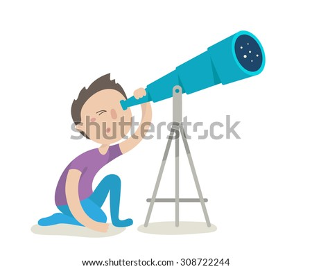 Cute boy watching through telescope. Flat design vector illustration isolated on white background - stock vector