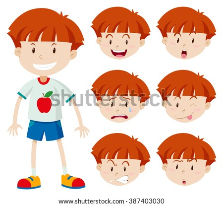 Cute boy with different facial expressions illustration - stock vector