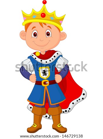 Cute boy with king costume - stock vector