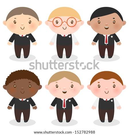 cute boys in school uniforms - stock vector