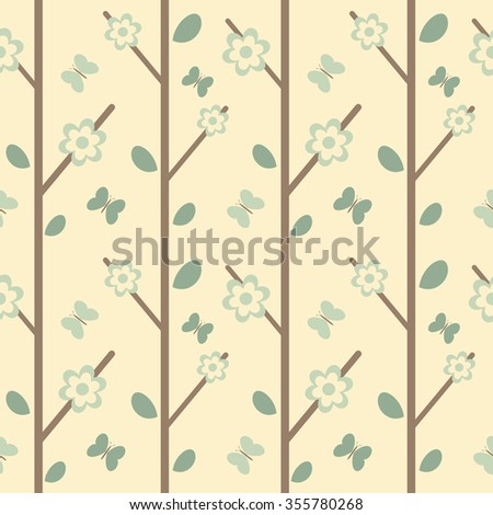 cute branch with leaves flowers and butterflies seamless vector pattern background illustration
