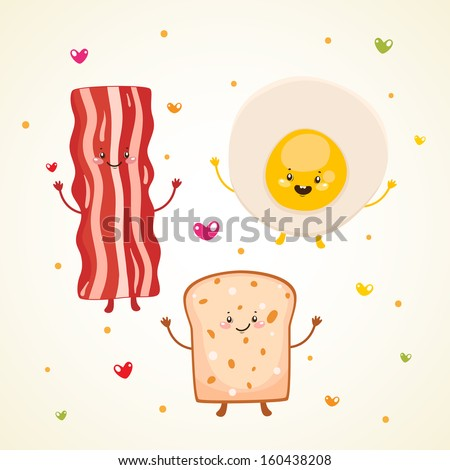 Cute breakfast: bacon, fried egg, toast.  - stock vector