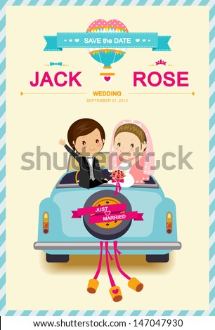 Cute Bride and Groom in Wedding Car Wedding Invitation Card template vector/illustration  - stock vector