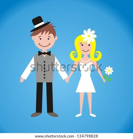 Cute bride and groom on blue background - stock vector