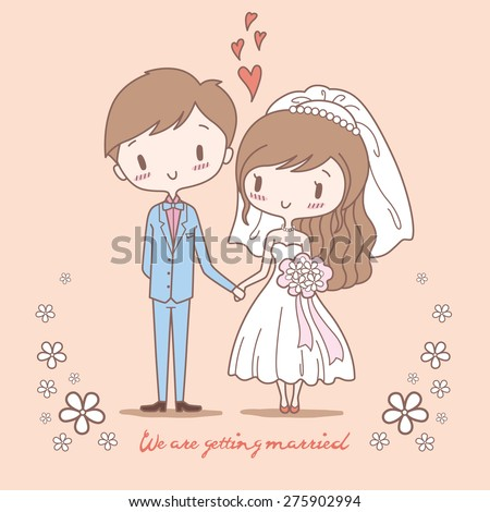 Cute bride and groom on pastel color style - stock vector