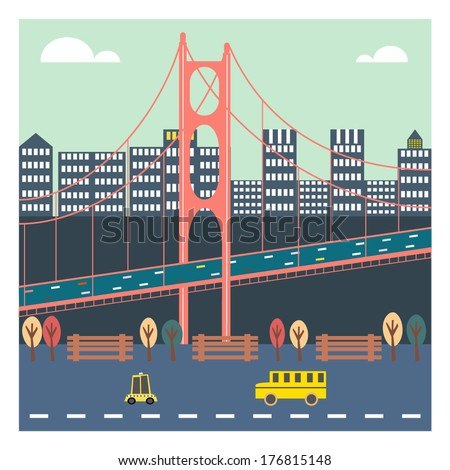 Cute Bridge in the City - stock vector