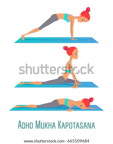set yoga poses girl practices yoga stock vector 504057952