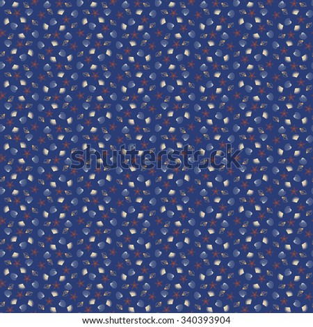 Cute bright seamless pattern with repeating pastel multicoloured contour shells and starfish on the blue background. Vector illustration