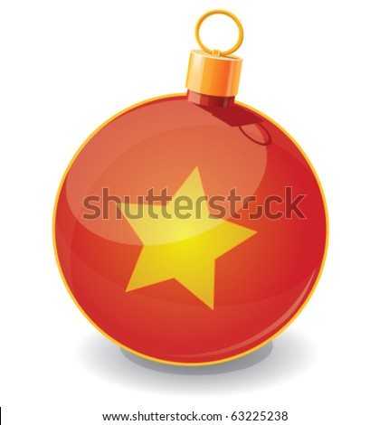 Cute brightness vector illustration of red Christmas toy ball icon with metal gold ring and illustration of yellow glossy star.