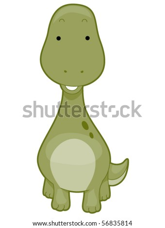 Cute Brontosaurus - Vector
