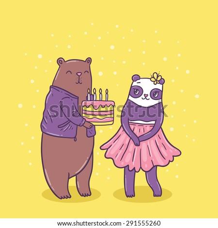 Cute brown bear holding birthday cake and panda girl. Funny holiday illustration. Vector animal image - stock vector