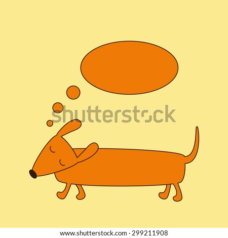 Cute brown contoured foxy colored dachshund with closed eyes, brown nose and curled tail and dream bubble over it isolated on ginger background. Logo template, design element - stock vector