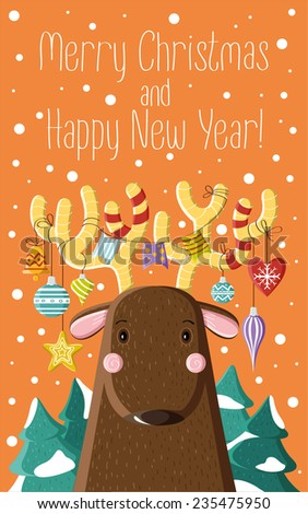 Cute brown deer with Christmas toys on the horns. Picture for prints, Christmas cards, decoration, covers, poster - stock vector