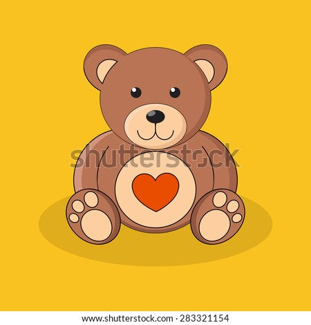 Cute brown teddy bear with red heart on yellow background. Vector illustration. - stock vector
