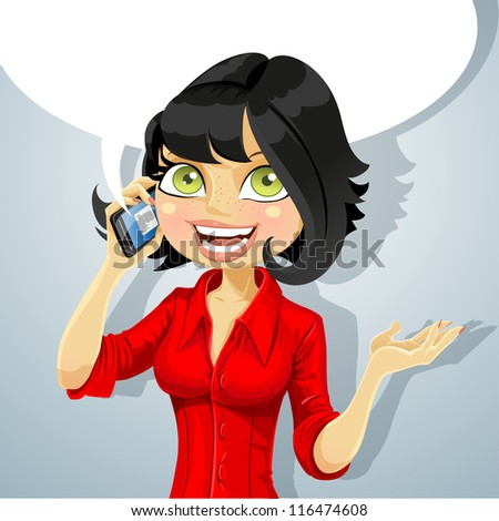 Cute brunette girl talking on the phone about something pleasant - stock vector