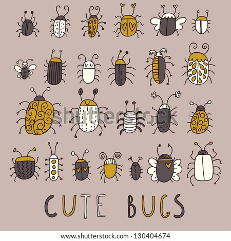 Cute bugs � vector set in retro style - stock vector