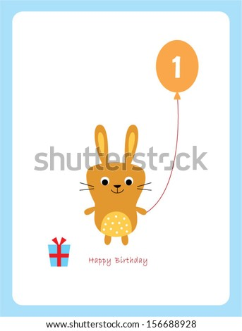 cute bunny first birthday greeting card - stock vector