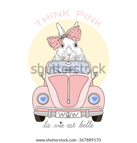 cute bunny girl driving pink car, think pink, life is beautiful, animal illustration - stock vector