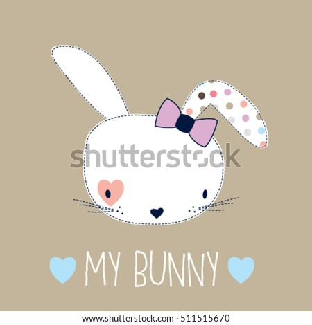 cute bunny girl head, Happy Easter card, T-shirt design for kids vector illustration