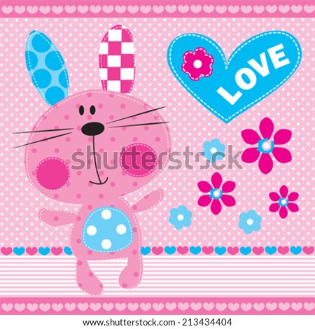 cute bunny girl with flowers vector illustration - stock vector