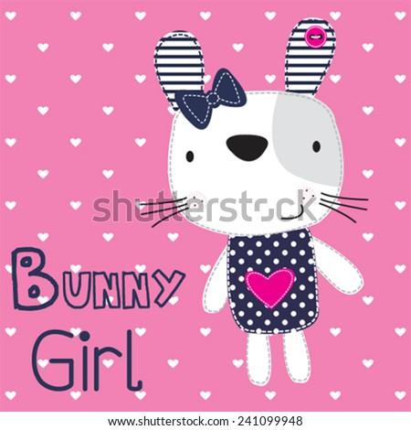 cute bunny girl with heart vector illustration - stock vector
