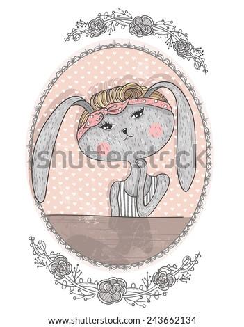 Cute bunny illustration for children. Hipster rabbit. Flower frame. - stock vector