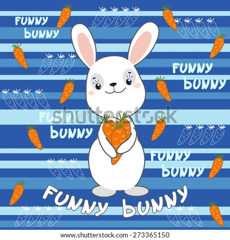 Cute bunny on the colorful background.  Vector print for children wear.  - stock vector
