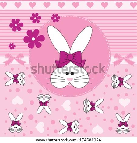 cute bunny pattern vector illustration - stock vector